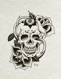 skull and roses tattoo flash art on behance