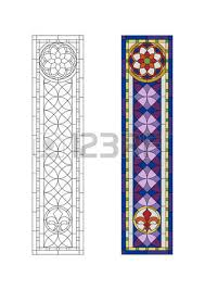 stained glass pattern with purple ornament royalty free