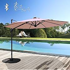 Solar Patio Umbrella Amazon Com Sunnydaze Steel 10 Foot Offset Solar Led Patio