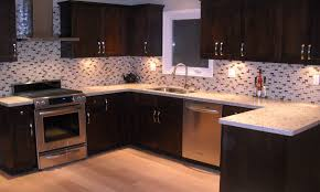 Glass Tile Kitchen Backsplash Designs White Glass Tile Backsplash With Dark Cabinets Nyfarms Info
