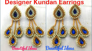 diy how to make designer kundan earrings made out of paper at home