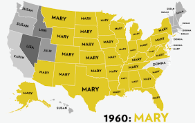 map usa with names the most popular names in the usa the past six decades