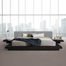 Contemporary Platform Bed Frame Modrest Opal Modern Low Profile Platform Bed Black Grey
