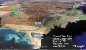 Map Of The Red Sea The Exodus Route Red Sea Camp At The Straits Of Tiran
