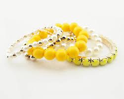 yellow pearl bracelet images Fashion multi strand yellow beaded bracelet set wholesale JPG