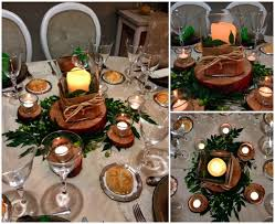 wood centerpieces diy christmas candle centerpieces table wood slices rustic appeal