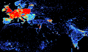 Population Map Comparing Population Density And Wikipedia Density On Gis Day