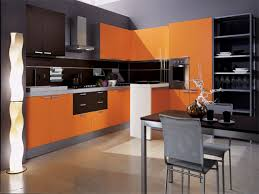Orange Kitchens Light Brown Oak Kitchen Cabinet Combined Big Silver Refrigerator
