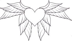 coloring pages heart coloring pages printable heart wings