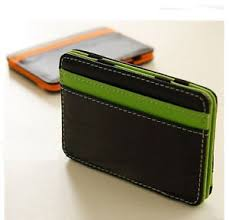 new mens magic money clip wallet faux leather id credit card slots