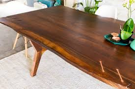 hand made claro walnut copper live edge midcentury modern dining