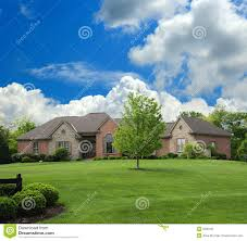 brick and stone suburban ranch style home stock image image 5580435