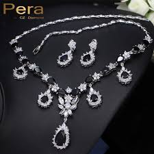 black drop necklace images Pera cz women evening party jewelry set black crystal stone long jpg