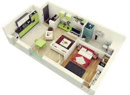 Modern Apartment Plans by 1 Bedroom Apartment House Plans