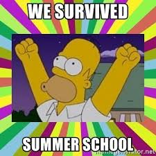 Simpsons Meme Generator - we survived summer school excited homer simpson meme generator