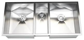 Stainless Steel Undermount Zero Radius Triple Bowl Kitchen - Triple sink kitchen