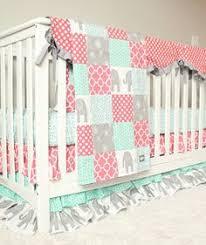 custom crib bedding baby bedding mint grey elephant and coral