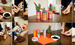 plant pots with tin cans nice decoration handmade idea crazzy craft
