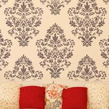 damask wall stencil pattern ludovica for diy home decor wallpaper