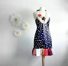 women u0027s black and white polka dot halter dress upcycled clothing