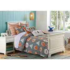 Camp Bedding 2 Piece Boys Grey Orange Blue Camp Out Theme Quilt Twin Set Fun