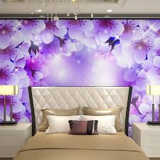 3d Wallpaper For Bedroom Beibehang Wall Panels Purple White Floral Flowers Papel De Parede