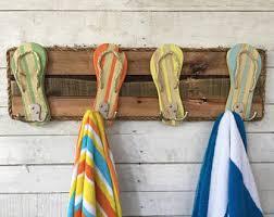 reclaimed wood wall art flip flop decor bathroom towel