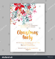 christmas party invitation holiday wreath poinsettia stock vector