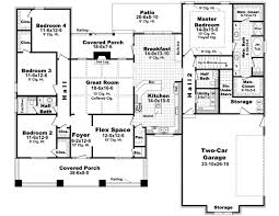 4 bedroom 1 story house plans bungalow style house plans 2400 square foot home 1 story 4