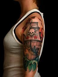 traditional pirate ship tattoo on women left half sleeve