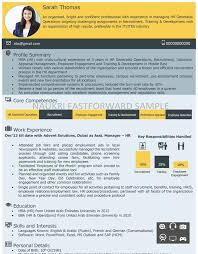 Sample Resume For Mba Hr Experienced by Free Visual Cv Samples For Freshers