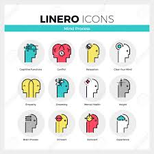 line icons set of mental and mind processes of human brain modern