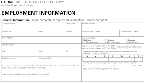 old navy job application printable job employment forms
