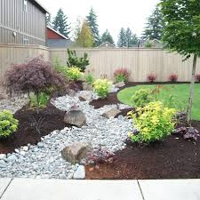 backyard patio landscaping ideas with rocks and woodem fence and