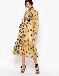 loving dresses for and lemons scarf midi dress in mustard loving