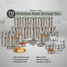 Stainless Steel Canister Sets Kitchen Buy Kitchen Cooks 70 Pcs Stainless Steel Storage Set Online At