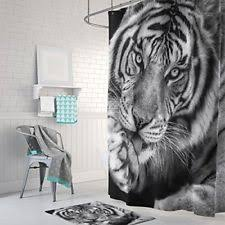 White Tiger Shower Curtain Black And White Shower Curtain Ebay