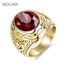 gothic ruby rings images Moliam retro gothic cool male rings with red stone stainless steel jpg