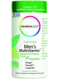 rainbow light vitamins mens certified organic men s multi vitamin 120 caps rainbow light