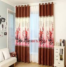 Brown Polyester Red Plum Floral Pattern Decorative Living Room