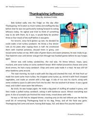 fifth grade reading comprehension worksheet thanksgiving leftovers