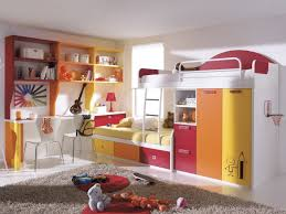 colorful bunk bed for kids with many storage in white room look