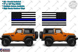 blue jeep wrangler 2 police leo thin blue line flag vinyl decals america fits jeep
