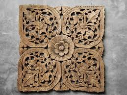 thai lotus carved wood wall decor siam sawadee
