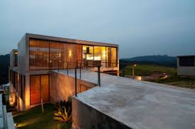 House With Courtyard Hillside House With 2 Concrete Volumes 2nd Story Entrance Bridge