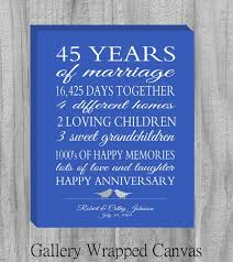 45 wedding anniversary items similar to canvas 45 year anniversary gift personalized