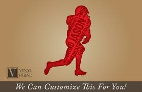 custome name football player silhouette with name and words a
