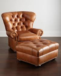 Leather Armchair With Ottoman Lansbury Tufted Leather Chair U0026 Ottoman