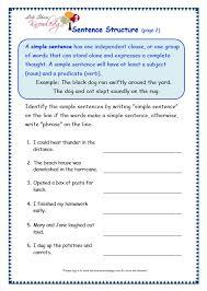 sentence structure worksheets worksheets