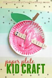 paper plate apple w worm kid craft apples craft and